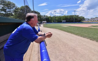 Chatham Anglers head coach John Schiffner looks out at a quiet Veterans Field. The winningest head coach in Cape League history announced this week that 2017 will be his last with the team. Kat Szmit Photo  (photo: )