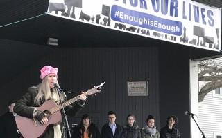 Harwich resident Kathleen Healy sings at Saturday's March For Our Lives in Hyannis. TIM WOOD PHOTO  (photo: )