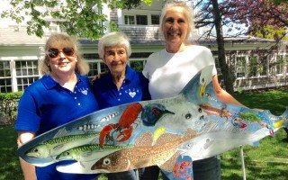"Artist Julie Dykens (right) created CECH's ""Shark in the Park,"" which will be auctioned off at the end of the summer to raise funds for homelessness prevention. She's pictured with CECH board member Diane Kennedy (left) and this year's celebrity walker, Phyllis Tileston. JOAN AUCOIN PHOTO  (photo: Joan Aucoin)"