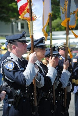 Orleans Police Color Guard stands at attention during Monday's Memorial Day ceremony.