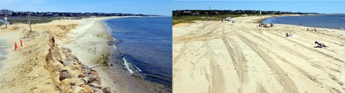 Cockle Cove Beach before the nourishment project (left) and after (right). COURTESY PHOTOS