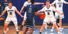 Last year's Monomoy seniors including Brandon Willis (5), Elijah Beasley (2), Jason Ready (15) and Joe DeMango (11)  battle against Sturgis East. This year's team will finally get on the court next week. FILE PHOTO  (photo: )