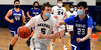 Monomoy Regional High School senior Aidan Melton, a Harwich resident, drives to the basket while Falmouth Academy junior Ben Mihalovich (23) defends during Friday's game at Monomoy in Harwich. BRAD JOYAL PHOTO  (photo: )