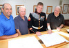Reviewing plans of the property are (from left) Chatham Chamber of Commerce board President Mike Giorgio, Chatham VFW Operations Manager Carl Rostek, post Vice President Alan Mangelinkx, and post Quartermaster Don Devine. ALAN POLLOCK PHOTO 