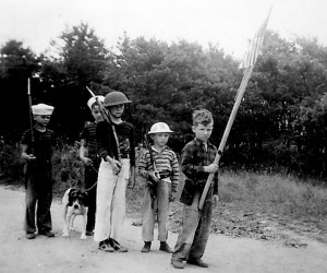 Ellie Nickerson, Archie Nickerson, Ron Kelley, Donny Larkin and Murray Larkin on Crosby Lane in West Chatham, ca 1940's.  PHOTO COURTESY OF ROLAND KELLEY  (photo: )
