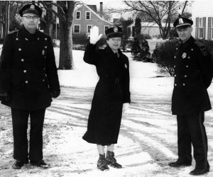 Benjamin Nickerson, Jeanne Nickerson and Chief Benjamin Rollins on crosswalk duty to the elementary school at the corner of Depot Road and Old Harbor Road, ca 1961. Photo courtesy of Benjamin Rollins.  (photo: )