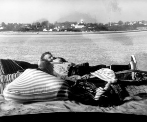 "Stuart Moore lounging on debris from destroyed camps after the ""No Name"" storm in October, 1991. PHOTO COURTESY OF JOHN W. GEIGER  (photo: )"