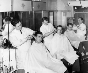 Dutch's Barber Shop, owned by Dutch Fournier, first barber on left,  from the '50s to the early '70s. Seated are: Bobby Winston, Russel Ritchie, and Bob Thayer, who was a postmaster in Harwich. COURTESY OF Carol Ann Currid  (photo: )