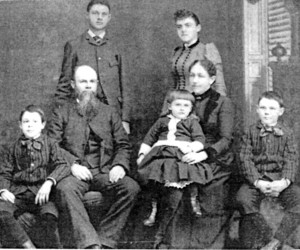 "The Moody Family of Harwich. Front Row: William Ladd Moody, Samuel Moody III, George Munsell Moody, Harriet ""Hattie"" Bacon Munsell Moody, Joseph Rice Moody: standing: Samuel Irving Moody, Harriet Marilla ""Rilla"" Moody, 1890. PHOTO COURTESY OF JIM JENSEN  (photo: )"