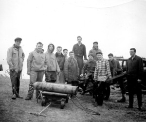Explorer Post 71 of Chatham was asked to rid Stage Island, Chatham of junk cars, April 1957. From left to right: Allen Phillips, Barry Fulcher, John Pratt, Clark Goodwin, Nelson Long, David Buck, Alvon Eldredge, Ross Ringheim, Carl D'Entremont, Bob Ryder, Ron Baker, Richard Ryder. PHOTO COURTESY OF DICK RYDER   (photo: )