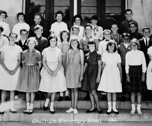 Chatham students from class of 1968.  Front row: Beth Phillips, Patty Davenport, Karen Pillsbury, Judy McIivin, Linda White, Linda Boyce, Gail Griffin, Brynhild Ringheim, Betsy Litchfield. Second row: Phyllis Boudreau, Henry Hyora, Steven Sibley, Karen Crowell, Arthur Ellis, Stephen Hart, Norman Paul, Gerald Custodie, Jack Gillis. Third row: Gwen Head, Pam Kittredge, Brian Wescott, Mrs. Kolodzik, Laura Jones, Sandra Rivers, David Tileston, Buddy Jackman and behind them Craig Matteson. PHOTO COURTESY OF CURTIS MATTESON  (photo: )