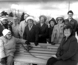 Veteran's Park bench dedication, 1991. Seated are Josephine Ives, left, and Marianne Helides. Behind, from left: Barbara Sifflard; Norman Howes and Ben Goodspeed; Doreen Hall; Norma Hergrueter, Francesca Stone; Jacqueline Cotter; Dan Tobin; Ernest Helides; Andrew Young. FILE PHOTO  (photo: )