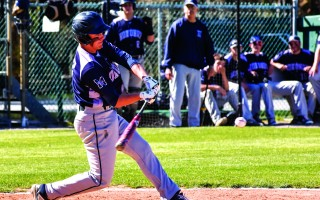Monomoy's Drew Senatore swings into a double during game play against Mashpee.  (photo: Kat Szmit)