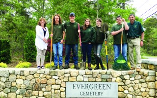 Students from Cape Cod Regional Technical High School's horticulture program designed a landscape plan and did the planting for the entrance of the expanded Evergreen Cemetery entrance off Route 39 in East Harwich. From left to right are Cemetery Administrator Robbin Kelley, Cape Tech students, Benjamin Caprio of Brewster, Joey Ostrom of Yarmouth Port, Nicole Alva of Marstons Mills, Kimberly Gallagher of West Barnstable, Mike Leavitt of Centerville and teacher Robert DelVecchio. WILLIAM F. GALVIN PHOTO  (photo: William F. Galvin)