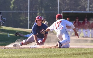 Harwich's Nick Feight (35) wears a grin after safely avoiding a tag at third during game play against the Y-D Red Sox. Kat Szmit Photo  (photo: Kat Szmit)
