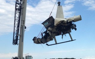 Crane lifts helicopter wreckage last Wednesday. CHATHAM POLICE PHOTO  (photo: )