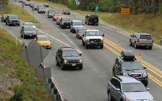 Friday was a typical day for traffic heading westbound from Exit 10 in Harwich trying to enter the flow along Route 6. WILLIAM F. GALVIN PHOTO  (photo: William F. Galvin)