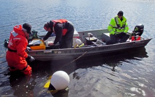 In April, U. S. Geological Survey scientists Carol Johnson, Eric White and Tim McCobb installed install water monitoring equipment as part of the Cape Cod study.  USGS PHOTO  (photo: Courtesy U.S. Geological Survey)