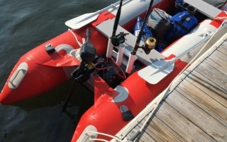 The inflatable kayak was recovered with no one on board off Allen Harbor Wednesday.  The two lucky boaters were rescued later.  USCG PHOTO  (photo: U.S. Coast Guard)