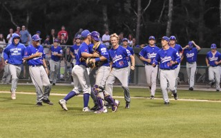 The Chatham Anglers celebrate their win against the Harwich Mariners on Aug. 7 to advance in the Cape League playoffs. Kat Szmit Photo  (photo: Kat Szmit)