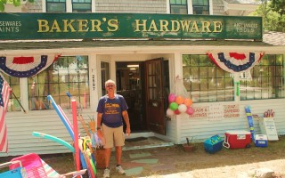 Bob Baker, owner of Baker's Hardware, stands in front of the family business located on Main Street in South Chatham.  ELIZABETH KINTZ PHOTO  (photo: Elizabeth Kintz)