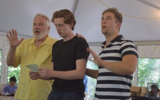 Terry Layman, Gavin McNicholl and Jack Plozay rehearse a scene. 