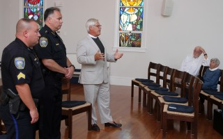 Sgt. Bill Massey (left) and Chief Mark Pawlina of the Chatham Police Department were hosted by the Rev. Brian McGurk of St. Christopher's Episcopal Church last week for a discussion about police race relations. ALAN POLLOCK PHOTO  (photo: Alan Pollock)