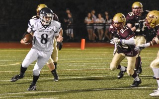 Monomoy's Isaac Hart, seen here against Cape Tech, stepped up in a big way when needed in the Sharks' come-from-behind victory against Matignon-St. Joe's on Sept. 17. Kat Szmit Photo   (photo: Kat Szmit)