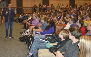 Chris Herren offers an important message regarding drug and alcohol addiction to students at Monomoy Regional High School on Monday. Kat Szmit Photo  (photo: Kat Szmit)