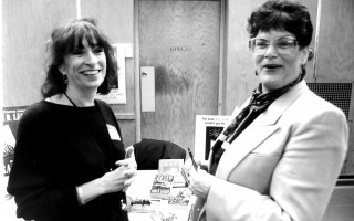 Chatham author Anne D. LeClaire, left, chats with State Representative Shirley Gomes at a career fair at Chatham High  School. April 1996. FILE PHOTO  (photo: )