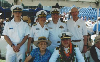 Three generations of a Naval family attend the graduation of Dan Grocki from the U.S. Naval Academy last May. Back row (left to right) Midshipman Nick Grocki, Rear Admiral Alma Grocki, Capt. Russ Grocki, Capt. Chet Grocki of Chatham. Front row (left to right) Dorothy Lau, Ensign Dan Grocki. COURTESY PHOTO  (photo: )
