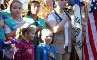 Scouts lead the gathering in the Pledge of Allegiance.  ALAN POLLOCK PHOTO  (photo: Alan Pollock)