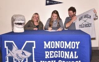 Monomoy field hockey star Hannah Potter is joined by her parents Briana and Jay as she formally signs her letter of intent to play for the St. Anselm College Hawks beginning this fall. Kat Szmit Photo  (photo: Kat Szmit)