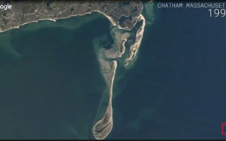 Screenshot of Time/Google video showing Chatham's barrier beach evolution over three decades.  (photo: )