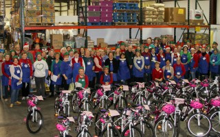 More than 80 volunteers helped distribute 100 bicycles on Toy Day. Benny's provided the bikes at a 10 percent discount, and assembled the bikes as well. The funds saved by the discount – along with three families' special donations – helped the Family Pantry purchase helmets.  DEBRA DeCOSTA PHOTO   (photo: Debra DeCosta)