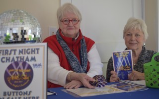 Barbara Hogan, left, and Bette Hahner were ready for the rush of button sales expected at First Night Chatham headquarters as the New Year's Eve event draws near. See page 11 for the full story. TIM WOOD PHOTO 