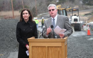 Chatham Town Manager Jill Goldsmith and Harwich Town Administrator Christopher Clark at the opening of the Muddy Creek bridge, a highlight of 2016. ALAN POLLOCK PHOTO  (photo: )
