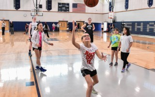 Lucy Mawn is all smiles as she takes part in a shooting and rebounding drill along with Juliana Ritchie, Lilly Gould, and Carly Dimock, with Monomoy girls varsity players Maddie and Courtney Leonard. Kat Szmit Photo  (photo: )