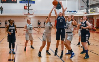 Monomoy's Leah Nash (13) tries for two while fending off West's Kerry O'Brien (11) and Mary Sullivan (12). Kat Szmit Photo  (photo: Kat Szmit)