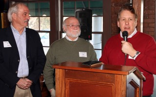 Event organizer Ray Gottwald (right) presents the James Noonan Community Service Award to George Swope (left) and Don Howell. Not pictured are outgoing HECH president Robin Wilkins or current president Rev. Terry Newberry. ALAN POLLOCK PHOTO  (photo: Alan Pollock)