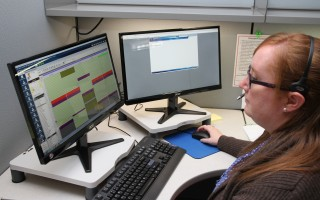 Liz Curtis, the call center supervisor, is one of about five people already working at the new Outer Cape Health services location in Harwich Port. Many more will be coming in the weeks ahead. ALAN POLLOCK PHOTO  (photo: Alan Pollock)