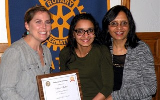 Rotary Student of the Month. Chatham Rotarian Michelle Berg, left, with Student of the Month Shivani Patel and her mother, Shaku Patel. Shivani is an honor student who is an accomplished flutist and also a member of the Interact Club. 