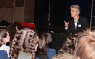 """Not paying attention to our environment is expensive,"" State Rep. Sarah Peake told Monomoy seventh graders Friday. ALAN POLLOCK PHOTO  (photo: Alan Pollock)"
