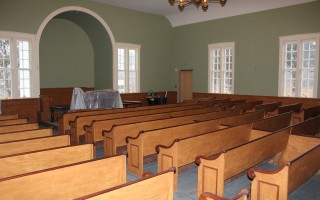 The sanctuary at the South Harwich Meetinghouse is nearing completion.  WILLIAM F. GALVIN PHOTO  (photo: William F. Galvin)