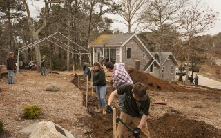 Cape Tech Horticulture students work outside the Knollenberg Cottage at Pleasant Bay Community Boating.  WILLIAM HAYES PHOTO  (photo: William Hayes)