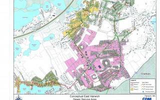 CDM Smith, Inc. has provided a conceptual sewer service area schematic illustrating which sections of East Harwich would receive sewering under phase two and three of the plan. It also shows additional sewering in phase eight, if it is determined to be necessary.  (photo: )