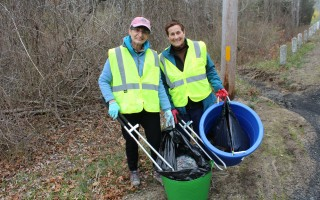 Amy Natiello (left) and Judi Sitkin of the Garden Club of Harwich picking up trash along the edge of Chatham Road in front of Thompson's Field last Thursday as part of the club's monthly beautification commitment. WILLIAM F. GALVIN PHOTO  (photo: )