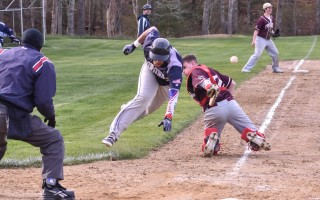 Unaware that the ball has escaped from his glove, Cape Tech catcher Anthony Armenti (24) reaches toward Monomoy's Will Sosa (3) for a tag as Sosa dives toward the plate for a run. Kat Szmit Photo  (photo: )