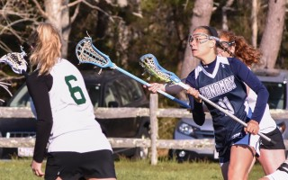 Monomoy's Emma Mawn (11) moves the ball into scoring territory for the Sharks. Mawn had a hat trick in Monomoy's Tuesday game against Sturgis West. Kat Szmit Photo  (photo: )