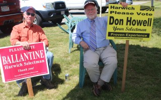 Larry Ballantine, left, and Don Howell at the polls Tuesday. WILLIAM F. GALVIN PHOTO  (photo: )